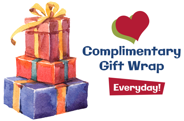 Free Complimentary gift wrap services at Geppettos Toys